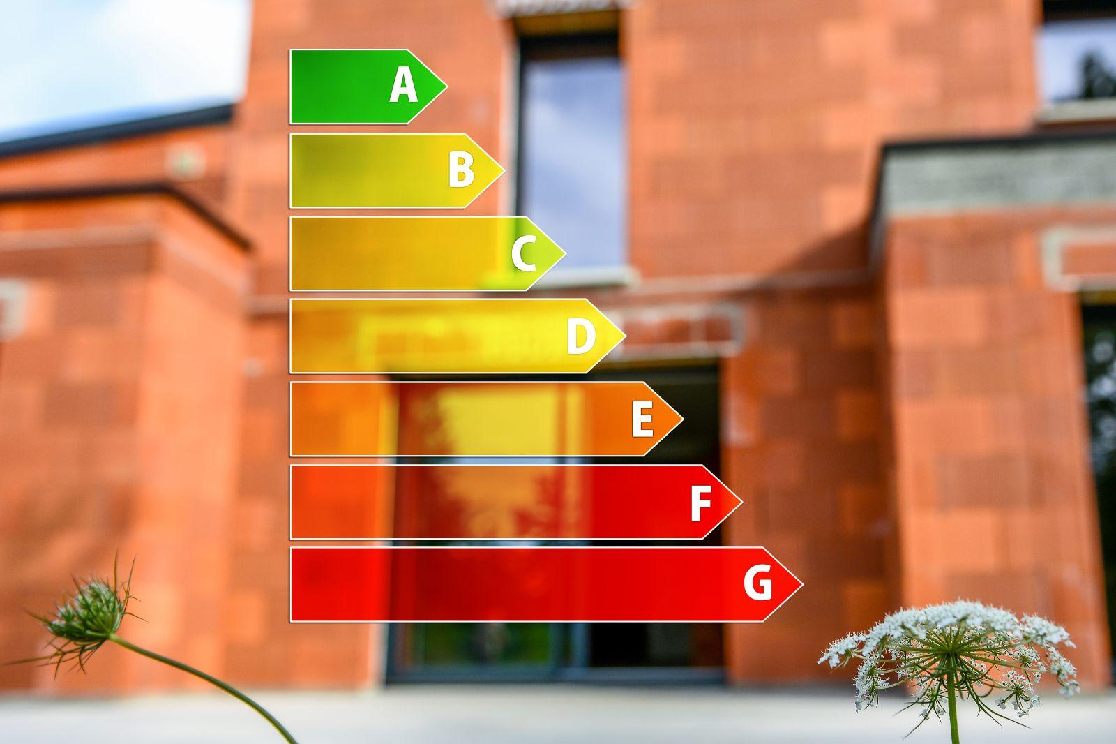 Schematik der Energieeffizienzklassen A bis G im Vordergrund und einem Haus im Hintergrund