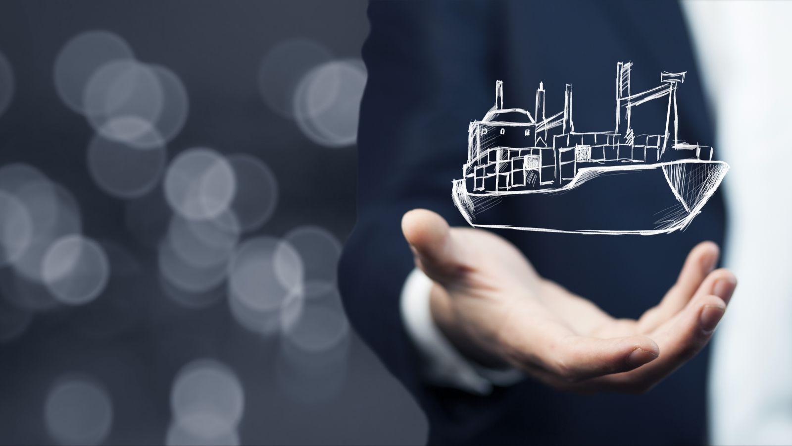 Gezeichnetes Symbol eines Schiffs schwebt über der Hand eines Geschäftsmannes