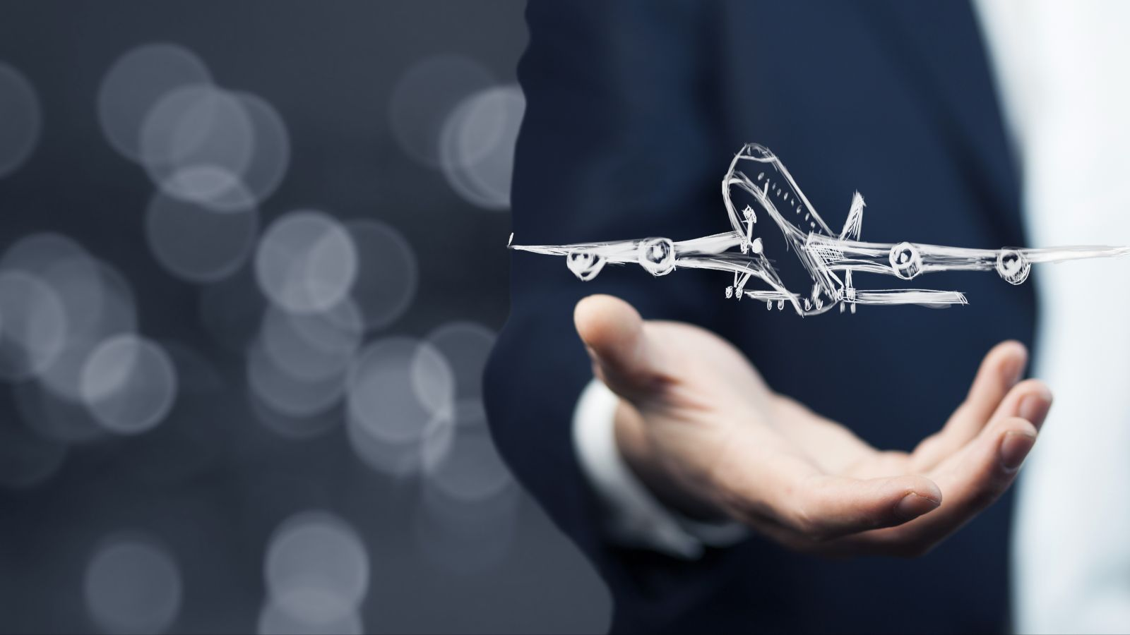 Gezeichnetes Symbol eines Flugzeugs schwebt über der Hand eines Geschäftsmannes